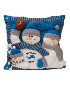 Detroit Lions Fabric Snowman Stocking - Light Blue