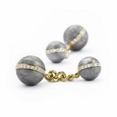 Saturn Meteorite, Gold and Diamond Cufflinks by Andrew Geoghegan