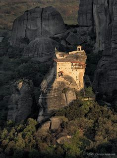 """The Metéora (which is etymologically pretty close to the word – """"Meteorite"""") is a very big & important Orthodoxmonasteryin Greece. the Meteoramonastery is actually composed out ofsix monasteries which were built on sandstone rock pillarsdramaticallyreaching up to the sky.  TheMeteoramonastery is located not far fromthe Pineios river and Pindus Mountains, in central Greece.Theclosesttown is Kalambaka."""