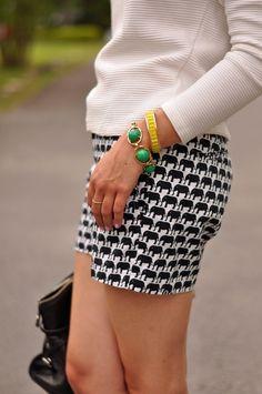 Black & white elephant print shorts.
