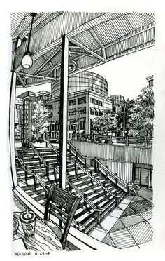 Sketching in the heat: downtown Denver by Paul Heaston
