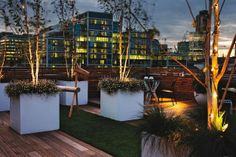 Garden idea  A roof terrace pulls ambient light from the cityscape