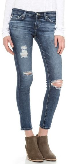 AG Adriano Goldschmied Ankle Legging Jeans, These distressed AG Adriano Goldschmied skinny jeans have a legging-tight fit. Shreds and heavy fading add well-traveled appeal. Single-button closure and zip fly. Jeans Skinny, Ag Jeans, Cropped Jeans, Ankle Jeans, Jeans Size, Jeggings, Legging Jean, Trendy Clothes For Women, White Casual