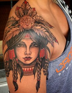 American Traditional Tattoo. Native American Indian woman. Beautiful!! Clean, bold tattoos by Dr. Chyloe https://instagram.com/drchyloe/