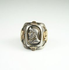 Art Deco Ring Otsby Barton Sterling Silver 10K by zephyrvintage, $175.00