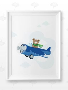 This amazingly cute Flying Teddy portrait fits kids room or any other room :) Looks best when framed. All Illustrations were made by us, LadiesMinimal from scratch, without using any premade elements. Nursery Prints, Nursery Decor, Cute Frames, Cute Bears, Exercise For Kids, Other Rooms, Art For Kids, Baby Gifts, Kids Room
