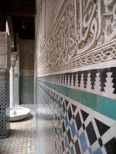 Timeless Moroccan mosaics and carvings. Medersa El Attarine