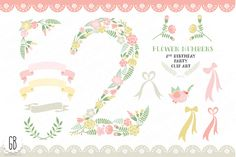 Floral number, birthday clip art Graphics Welcome to GrafikBoutique!This item includes 16 elements: number 2 and other elements. Total 32 se by GrafikBoutique Birthday Clips, 1st Birthday Parties, 2nd Birthday, Birthday Stuff, Birthday Doodle, Doodle Patterns, Creative Sketches, Pretty Patterns, Floral Illustrations