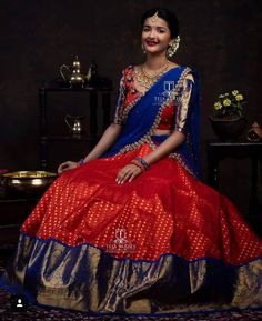 Saved by radhareddy garisa Lehenga Saree Design, Half Saree Lehenga, Saree Gown, Lehnga Dress, Lehenga Designs, Kids Lehenga, Dress Neck Designs, Bridal Blouse Designs, Saree Blouse Designs