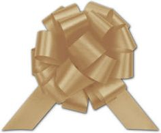 """Gold Satin Perfect Pull Bows, 18 Loops, 4""""  •50 bows per box  • Easy to Make - just pull the ends and tie off to secure  • Stores flat  • Available in a variety of colors  • Coordinates with Splendorette satin finish curling ribbon  • A sample is available for this product. Please contact customer service if you would like to order a sample"""