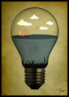 love this surreal light bulb moment art work clever illustration design Art And Illustration, Illustrations Posters, Light Bulb Art, Gfx Design, Inspiration Artistique, Drawn Art, Art Graphique, Art Plastique, Oeuvre D'art