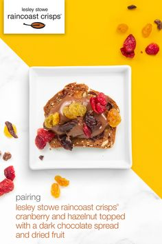 pairing | lesley stowe raincoast crisps® cranberry and hazelnut topped with a dark chocolate spread and dried fruit Chocolate Spread, Dried Fruit, Crisp, Toast, Pairs, Breakfast, Food, Side Dishes, Morning Coffee