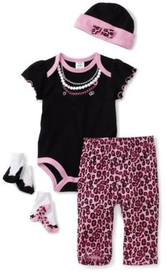Amazon.com: Baby Essentials Baby-girls Newborn Trump L'oil Layette Set, Black/Pink, 3-6 Months: Clothing 18.20 amazon.com