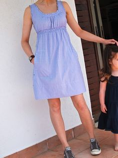 looks easy... use a shift style dress and take it - I see this style dress on sale racks all the time!