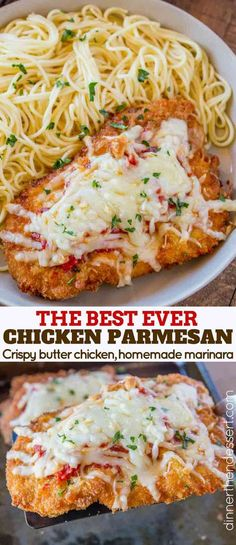The Best Chicken Parmesan, with a buttery crispy panko coating baked to a perfect melted mozzarella cheese topped crispy chicken entree.
