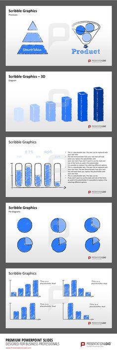 Auswahl an Folien mit Grafiken und Bildern: PowerPoint Designs für ...