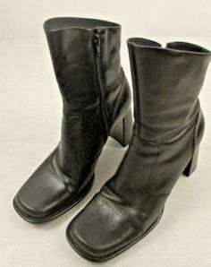 749a8dccb8 Bakers Women s Black Boots Booties Sz 9 Leather Block 3.25
