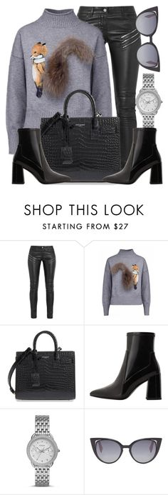 """""""Sneaky Fox"""" by monmondefou ❤ liked on Polyvore featuring Yves Saint Laurent, MANGO, FOSSIL, Fendi, black and gray"""