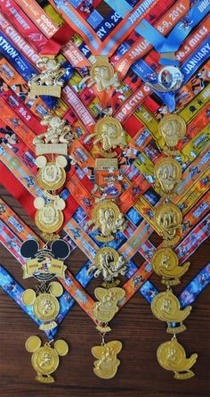 Run Disney woven race medal wall display