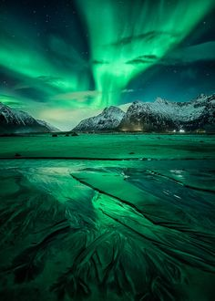 nordlys ] ~ aurora borealis, Flakstad, Lofoten, Northern Norway by D-P… Lofoten, Beautiful Sky, Beautiful Landscapes, Beautiful World, Beautiful Norway, Landscape Photography, Nature Photography, Waterfalls Photography, Photography Pics