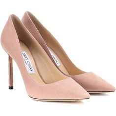 Jimmy Choo Romy 100 Suede Pumps ($590) ❤ liked on Polyvore featuring shoes, pumps, heels, neutrals, heel pump, jimmy choo pumps, pink pumps, pink suede pumps and pink shoes