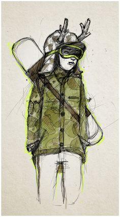 Foxes & snow doodles.. by luiza kwiatkowska, via Behance