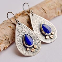 Sterling Silver Earrings, Drop-Shaped, Lapis Lazuli Earrings, Silver and Gold, Modern Style, Gift for Her, Oxidized Silver, Flower Details