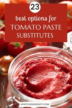 Need a substitute for tomato paste? Find 23 great options including a handy substitute chart with ratios. Everything you need to know in one place. Southern Cooking Recipes, Cajun Recipes, Low Carb Recipes, Cooking Tips, Best Easy Dinner Recipes, Quick Easy Meals, Easy Dinners, Tomato Paste Substitute, Tomato Allergy