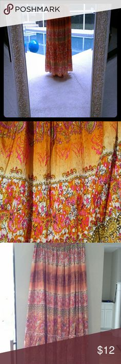 SALE *** BOHO CHIC Baccini skirt Absolutely beautiful full length multicolor skirt.  100% polyester Baccini Skirts