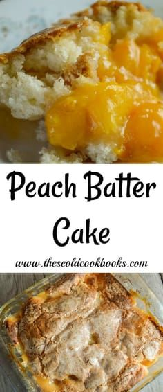 Peach Batter Cake Recipe with Crunchy Top Crust This Peach Batter Cake recipe is super easy to make with either fresh or canned peaches and has a decadent crust that will have everyone asking for seconds. 13 Desserts, Delicious Desserts, Dessert Recipes, Yummy Food, Fruit Dessert, Homemade Desserts, Cupcake Recipes, Dinner Recipes, Peach Cake Recipes