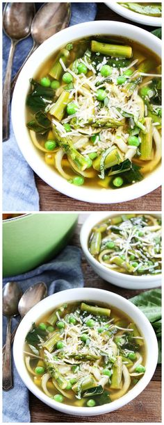 Spring Vegetable Zucchini Noodle Soup Recipe on twopeasandtheirpod.com This simple and healthy vegetable soup is made with zucchini noodles and all of your favorite spring vegetables! It is great for lunch or dinner!