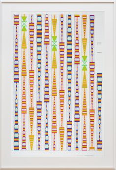 Channa Horwitz, Sonakinatography, Composition Sixteen – Sixteen Instruments, 1991. Casein on mylar, 60 × 40 in. (152.4 × 101.6 cm). Estate of Channa Horwitz. Courtesy of the Estate of Channa Horwitz and François Ghebaly, Los Angeles. © Channa Horwitz. Photograph by Robert Wedemeyer