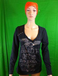 Women's Smokin' Harley Davidson Winston Salem Black Long Sleeve Shirt XL | eBay