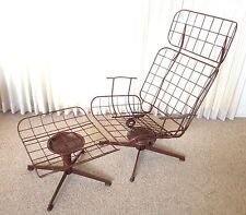 Vintage Mid Century Modern Homecrest Swivel Wire Lounge Chair U0026 Ottoman