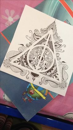Harry Potter deathly hallows zentangle