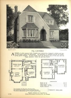 The CATHRO - Home Builders Catalog: plans of all types of small homes by Home Builders Catalog Co. Small House Plans, House Floor Plans, Architecture Plan, Architecture Details, The Plan, How To Plan, Old House Design, Vintage House Plans, Vintage Houses
