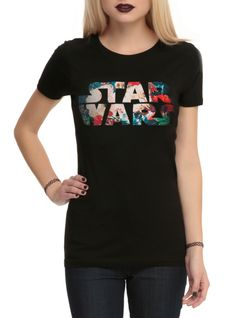 Fitted black tee with a floral filled Star Wars logo screened on the front.