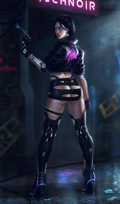 """Cyberpunk Nights by Salvador Trakal Cyberpunk Kunst, Cyberpunk Girl, Cyberpunk 2077, Anime Sexy, Science Fiction, Animé Fan Art, Art Manga, Sci Fi Characters, Mo S"