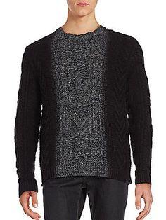 Vince Marled Dégradé Cable-Knit Sweater - Cinder - Size