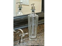 Elegant glass bathroom or kitchen soap pump made from repurposed Gran Patron Piedra Tequila Bottle.  Only 1 in stock get yours soon!  Click picture to get more information or Google @lookingsharpcactus