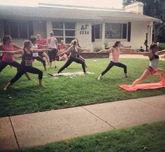 Yoga in the yard! Great way to start the day with your sisters!