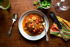 Chicken Stew With Sweet Plantains - Recipes - The New York Times I made this w/ chicken stock instead of water and bought savory olives from Whole Foods to jazz it up. SO delicious!