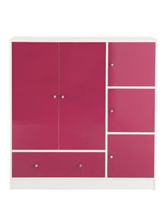Kidspace Cosmo Wide Wardrobe, Cupboard and Drawer Unit with Pink or Blue Gloss FrontsFrom Kidspace's cool Cosmo collection of children's bedroom furniture, this wide wardrobe combines smart storage with shiny style.A clean white frame is offset with high gloss doors that come in boyish blue or girly pink colour options. Each one has a smooth reflective sheen that attracts the light and gives their bedroom a trendy edge they'll love showing off to friends!The 2-door wardrobe contains a…