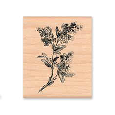 LILAC BRANCH  - wood mounted rubber stamp -(MCRS 21-24). YES. like this.