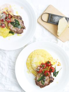 Lucy tweed stylist polenta with lamb cutlets and cherry tomatos