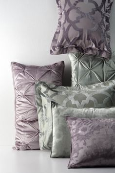 Perfect amethyst and eucalyptus color palette for a spring refresh. Throw these on an elegant neutral and you've got an instant upgrade. Master Bath, Master Bedroom, Amethyst Color, Mirror With Lights, Hearth, Bedroom Ideas, Bed Pillows, Pillow Cases, Interior Decorating
