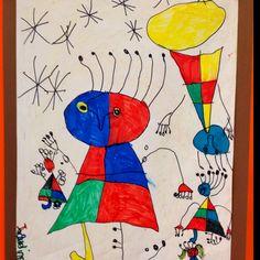 Joan Miro inspired marker drawing. First grade
