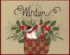Wool Seasons: Winter -  Wool Applique Pattern - by Beth Ritter for Wellington House Designs - Instant Digital Download