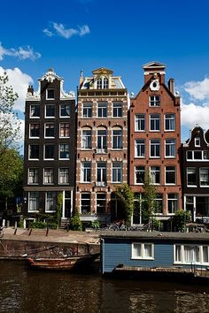 Traditional Dutch gable houses along the Herengracht, located in the UNESCO World Heritage Site of Amsterdam's Canal Belt