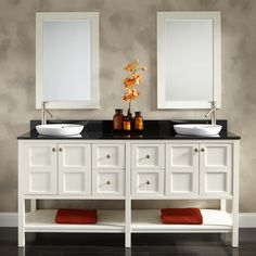 """72"""" Bowman Vanity for Semi-Recessed Sink - White - Double Sink Vanities - Bathroom Vanities - Bathroom"""